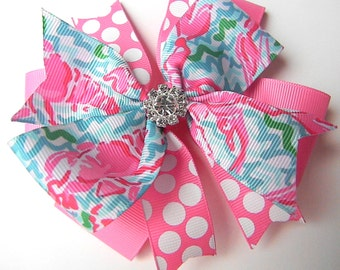 Lilly Pulitzer Hair Bow - Lobstah Hair Bow- Lobster Hair bow - Hot pink turquoise Hair Bow