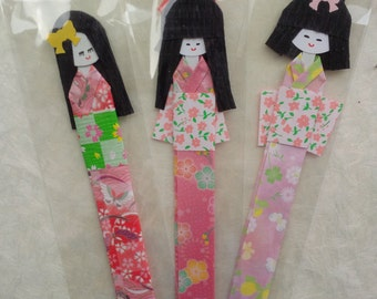 Handmade pink origami dolls - set of 3 - unique bookmark dolls for gift - japanese gilrs kimono dolls - origami