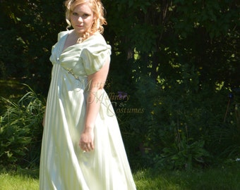 Jane Austen Grecian Regency Evening Ball Round Gown Dress with train in Sage Green Stripe Jacquard