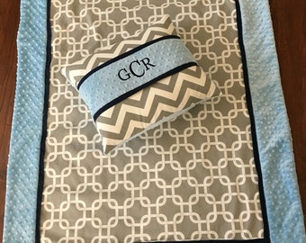 Baby blanket quilt pillow personalized GRay navy baby blue minky dot