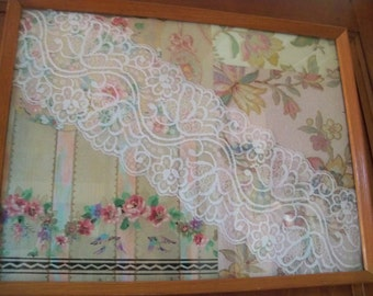 antique sample wall paper lace collage  framed art wall hanging / tray