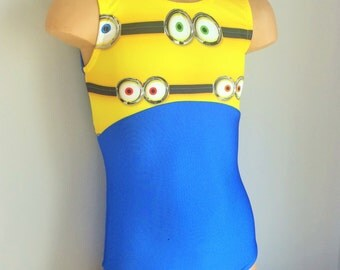 Gymnastics Dance Leotard Blue/Eye-on. Minions Toddlers Girls Gymnastics Leotard. Dancewear.  Size 2T - Girls 12