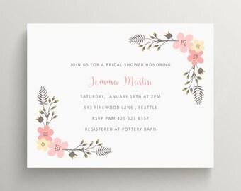 soft floral bridal shower invitation set // couples shower // engagement party // vintage // feminine // flowers // note card // summer