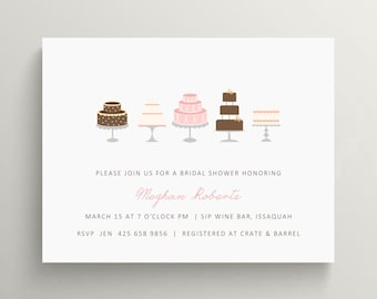wedding cake bridal shower invitation set // birthday invitation // thank you note // cake // wedding shower // engagement party // tea