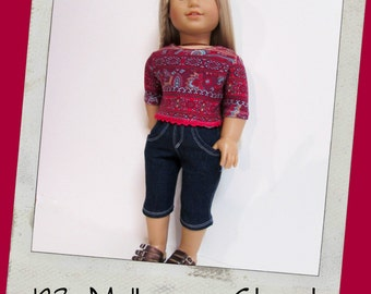 "18"" Doll Clothes, AG doll clothes- Tribal T-shirt and Dark Wash Denim Capris  fits 18"" dolls like American Girl, Maplelea"