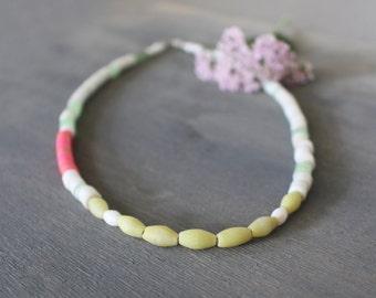 Viva Necklace Ethnic Beaded White Pink Green African Trade Bead Simple Minimalist Neon Kankanmba Glass Jade Vulcanite Heishe Boho Bright