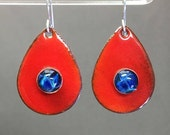 Fire red enamel torch fired enamels teardrop colorful dramatic statement earrings with lapis boro cabochons in bezels, lampwork  fall style