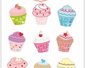 ON SALE Cupcake clip art , instant download digital clip art. cupcake,  cupcake party clip art,