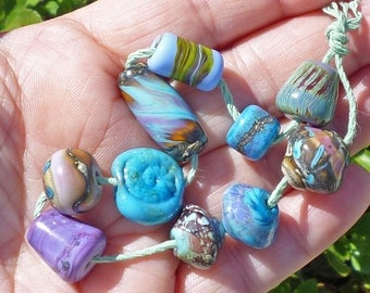 10 Turquoise Orphans #2 - Lampwork Beads SRA