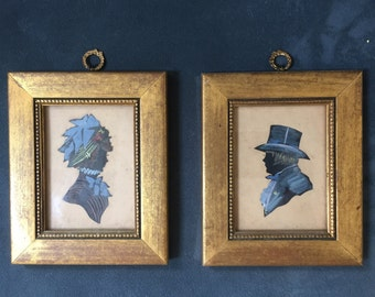 Antique silhouette portraits in matched frames