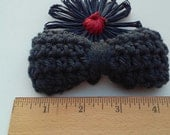Black Bow / Bows / Crochet Bow / Applique / Craft Bows / Yarn Bows / Craft Supply /