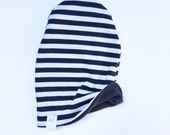 Beanie- Reversible Black and White Stripe and Solid Black Slouchy Beanie