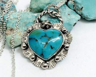 Turquoise Heart Necklace - Silver and Turquoise - Gemstone Necklace for Women - Genuine Turquoise