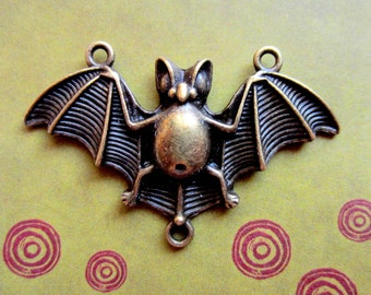 6 Bat Connector charms Antique Bronze Flying Bat  Charm halloween Pendant Connector 29x48mm (AA6)