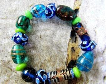 17 Lampwork glass beads aqua blue royal blue lime green destash lot beads SB1