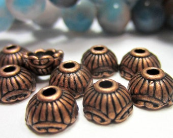 30 Antique copper bead caps ethnic jewelry spacer beads necklace making supplies 6.5mm dark copper bead caps 560-(V2)