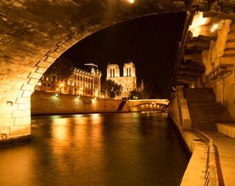 Paris Photography Notre Dame Photo River Seine Bridge Quai France Print Paris Decor Night Gold Yellow par159