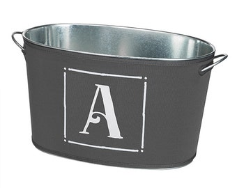 Personalized Grey & White Beverage Bucket; Perfect Wedding or Housewarming Gift