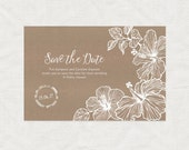 tropical hibiscus wedding save the date cards aloha - diy printable digital - postcard travel destination beach floral flowers luau hawaiian