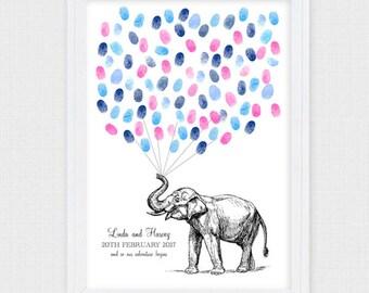 wedding fingerprint guest book - printable file - vintage elephant illustration, safari wild animal, balloon thumbprint baby shower boy girl