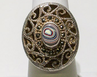 Vintage Sterling Silver Ring upcycled with a Colorful, Detroit, Motor-City Agate, Fordite Cabochon, with Marcasite accents! ~ mrfeld ~ FR109