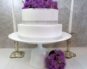 "Tall Pedestal Wedding Cake Stand Handmade from Vintage Milk Glass, 14"" diam x 7"" tall"