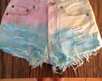 90s tie dye cut off shortts