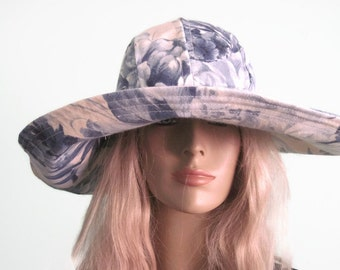 Blue White Floral Print Sunhat Wide Brim Womens Pool Hat Beach  Hat Vacation Hat