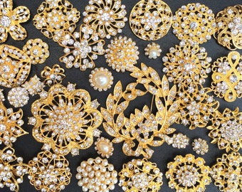 32 pcs Gold Brooch Bouquet DIY Kit wholesale assorted lot set crystal rhinestone Bridal Wedding brooch button Decoration BR673