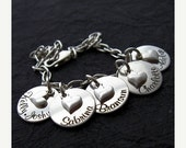 25% off sale - Love More Family Collection - BROOKE 5 Discs w/sterling tilted heart personalized mommy bracelet - Charm Bracelet - Engraved