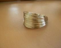 Modern Gold Cuff Bracelet Handmade: 18K Gold Filled Wire Bracelet-Wire Wrapped Bracelet Adjustable Bangle Bracelet For Women-Multi Strand