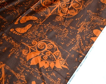 Vintage Fabric - Hawaiian Hang Ten Barefoot Print -  44 x 36 Brown and Orange