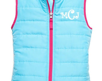 Girls Monogrammed Aqua Quilted Vest Personalized Puff Vest Preppy Size 4-6-6X Youth