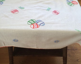 Hand Embroidered Easter Egg Tablecloth