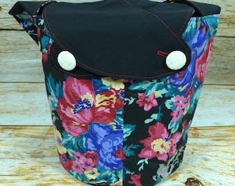Black Floral -Medium Llayover Knitting Tote/Knitting, Spinning, Crochet Project Bag