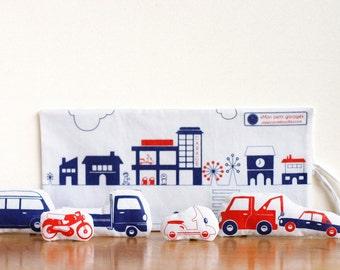 Fabric Cars & their travelling Garage - Fabric Toy - Screenprint - Eco friendly inks - plushie, softie - handmade toy, truck, vespa, van
