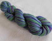 Lupine in Bloom II Self-striping Superwash Merino Fingering Sock Yarn -- Dark Purple, Grape, Lavender, Green
