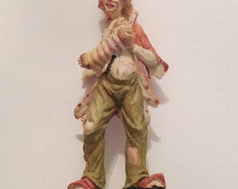 CLOWN FIGURINE, Clown, Hand Painted, Figurine, Collectible, Collectible Clown, Hand Painted Figurine, Wood Base, Knick Knacks, Gift, Sale