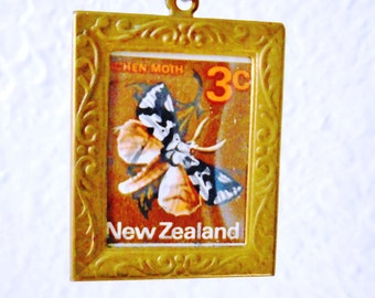 Vintage Antique Collectible New Zealand Lichen Moth Stamp 70's Orange Browns  Antique Filigree Art Nouveau Brass Frame