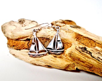 Vintage Sail Boat 925 Sterling Silver Dangling Earrings Nautical  Full Sails Boat Ship Ocean Beach Jewerly Retro Art Deco Runway Statement
