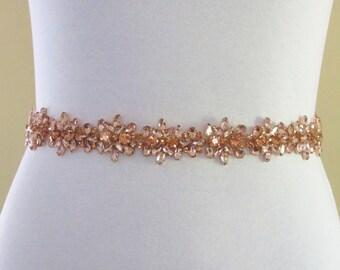 Rose Gold Crystal Bridal Sash,Wedding sash,Bridal Accessories,Bridal Belt and sashes,Ribbon Sash,Style # 54