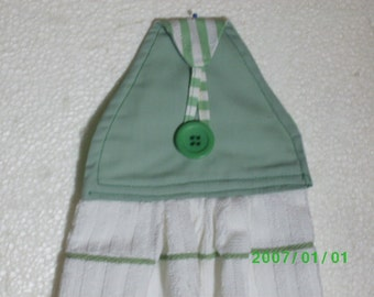 TOWEL #26 Green White Hanging/Button On/Kitchen/Bath/Studio/BBQ/Utility Room/Made in US/Terry Cloth/ for Gift Basket/ Manish
