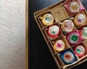 indented glass glitter bulbs christmas ornaments set original box
