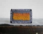 Modern Hand Embroidered Brooch - Field of Wheat Abstract Fiber Art  - Gift Under 30 - Handmade by Sidereal