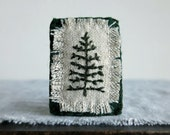 Evergreen Tree Hand Embroidered Brooch - Winter Coat Accessory - Jewelry Brooch