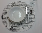 RTS, Set of 4 round fabric placemats newsletter, newsprint, words, French newsprint