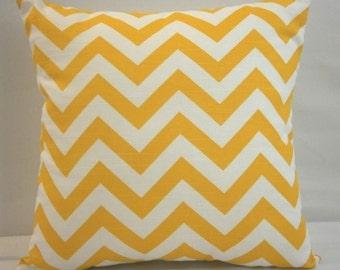 "RTS Corn yellow and white zig zag chevron pillow cover with zipper 18"" square"