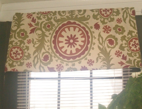Rts Lined Suzani Valance 42 X 18 Inches Autumn Natural