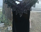 RESERVRD TAMMY intage Black Velvet Mini Dress Off Shoulders Scott McClintock Petite 8 1980s 80s