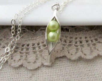 Two Peas In The Pod Necklace, Best Friends Jewelry, Peapod Necklace, 2 Pea Pod Necklace, Twin Jewelry, Two Peas In A Pod Jewelry, Sweet Pea